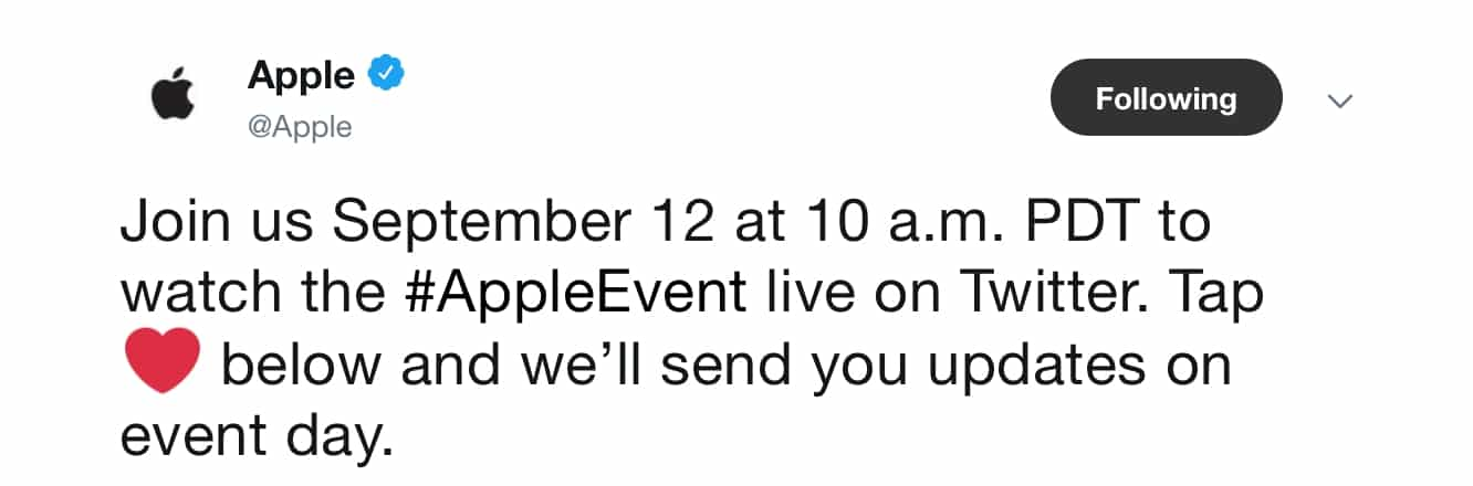 Apple confirms Twitter live stream of tomorrow's iPhone event