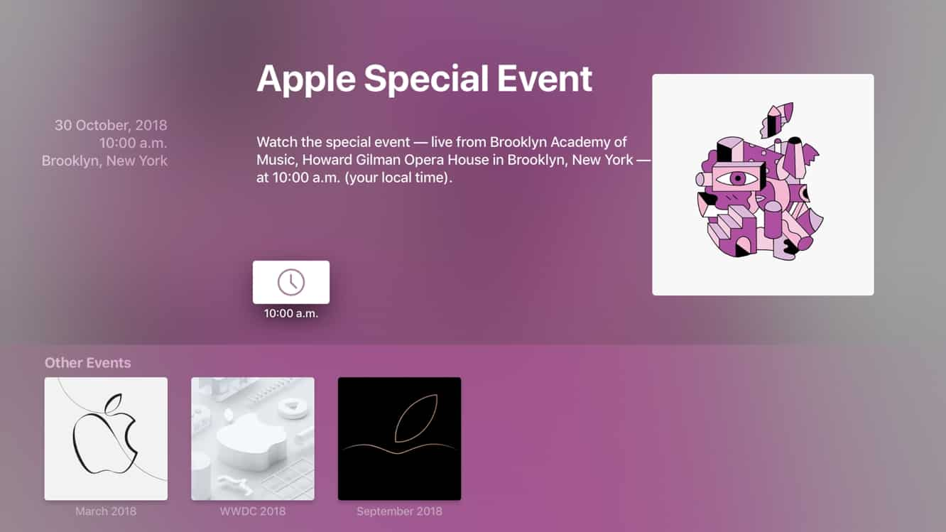Apple updates Events tvOS app for Oct. 30 special event