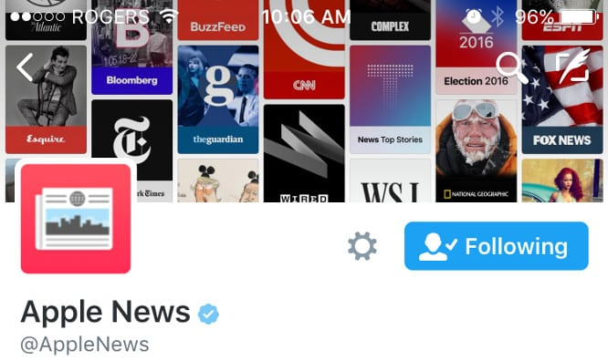 Apple News Twitter account starts promoting stories