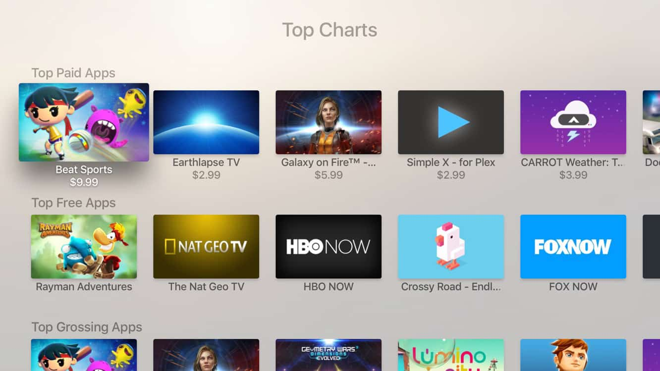 Apple TV: Plex now available, Top Charts come to App Store