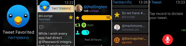 1Password, Calcbot, Pennies + Twitterrific on the Apple Watch