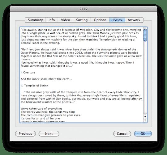 Adding lyrics in iTunes for Mac