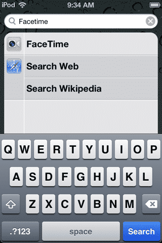 Missing FaceTime icon on iPod touch