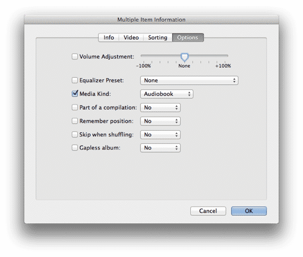 Importing MP3 audiobooks into iTunes
