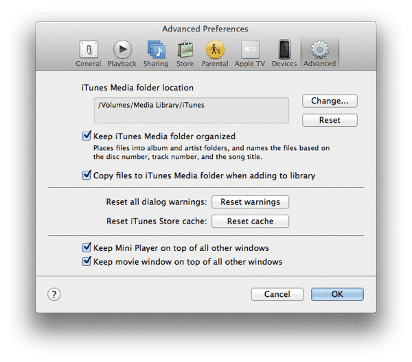 Creating iTunes library on external hard drive