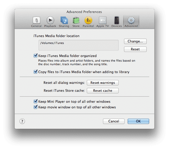 Preventing iTunes from reorganizing Audiobooks on a NAS device
