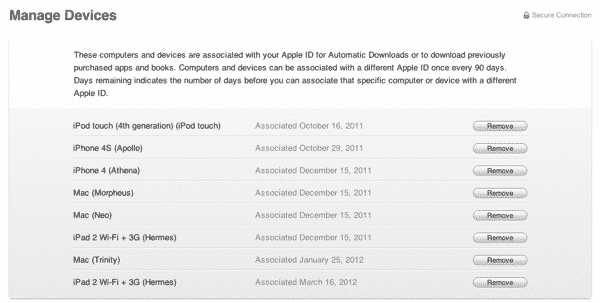 Managing Devices in your iTunes Store Account