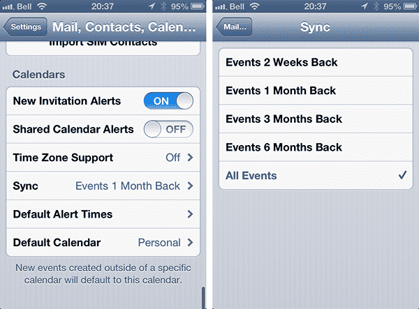 Keeping older entries in your iOS Calendar