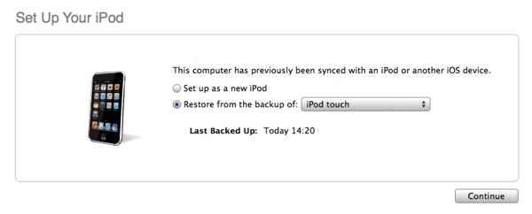 Restoring iPod touch after forgotten passcode