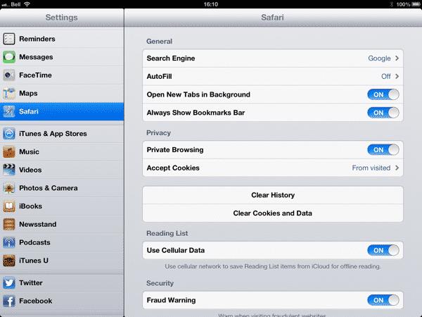 Black Safari Toolbars on iPad
