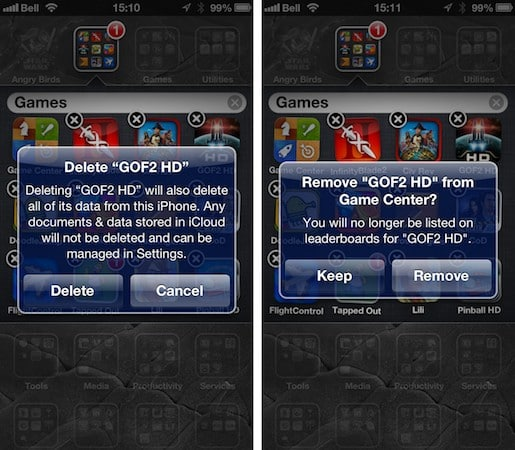 Deleting apps used on multiple devices