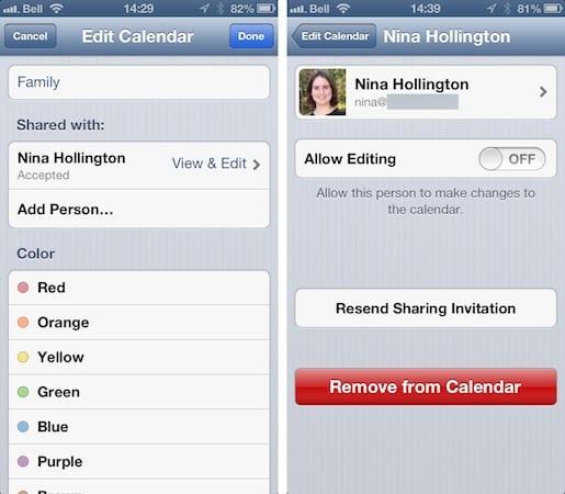 Sharing iOS Calendars between family members