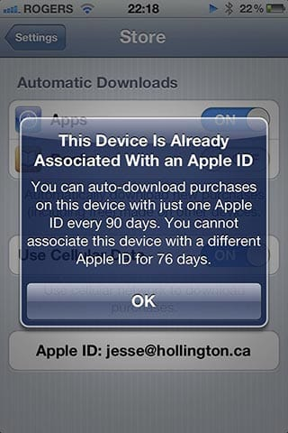iTunes in the Cloud limitations on iOS devices