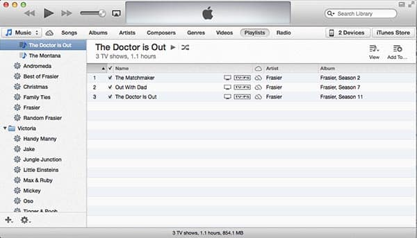 Movie and TV Show Playlists in iTunes 11