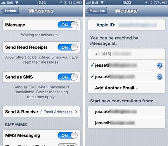 Changing iPhone number for iMessage