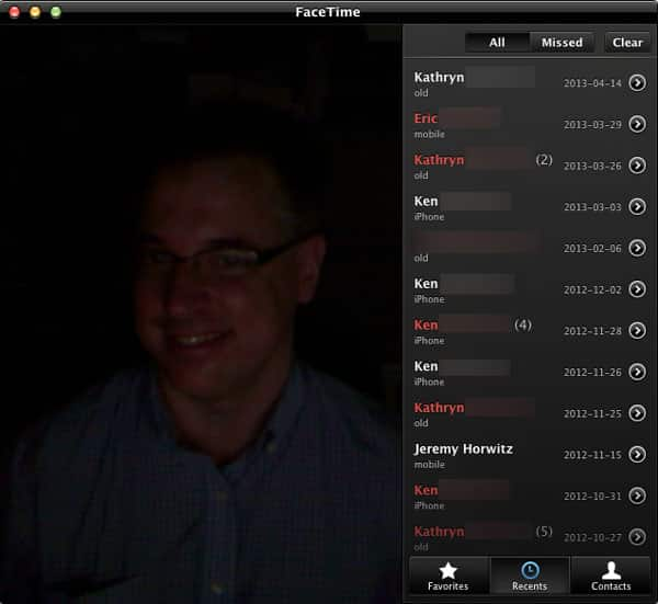 Accessing FaceTime call history on a Mac