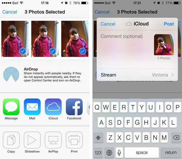 Adding multiple photos to a Shared Photo Stream