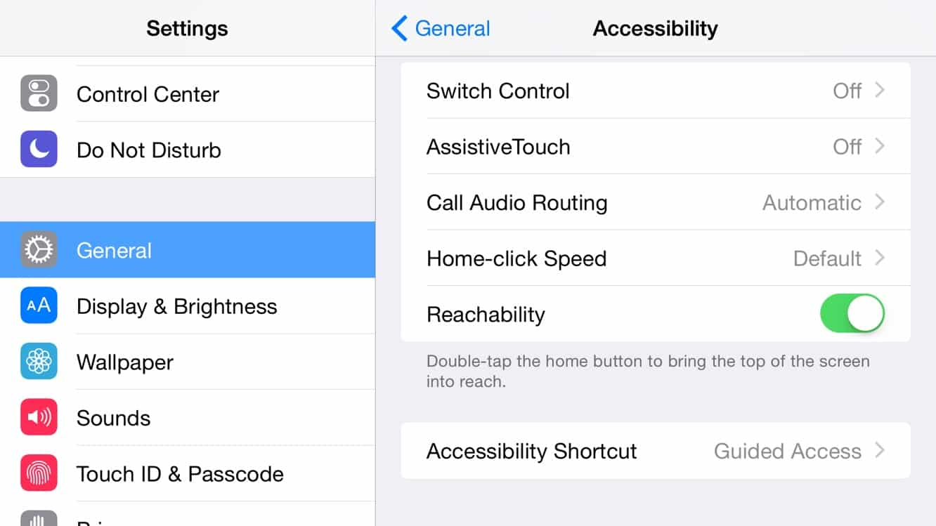 How do I turn off Reachability on the iPhone 6 Plus?