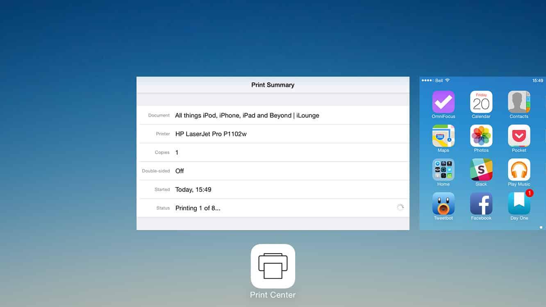 How do I cancel a print job on iOS?