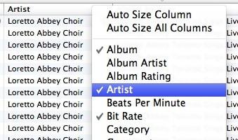 Removing columns in iTunes