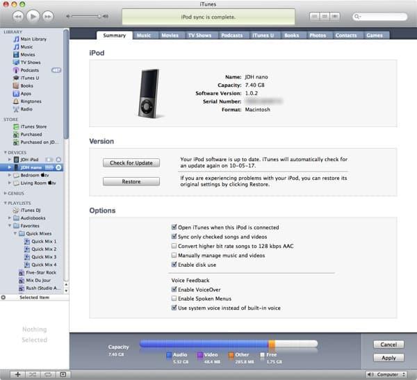 Transferring videos from iPod nano