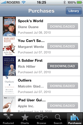 Transferring iBookstore purchases between devices
