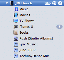 Transferring files manually onto iPod touch