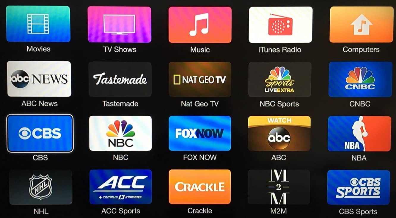 Apple TV adds CBS, NBC, M2M channels