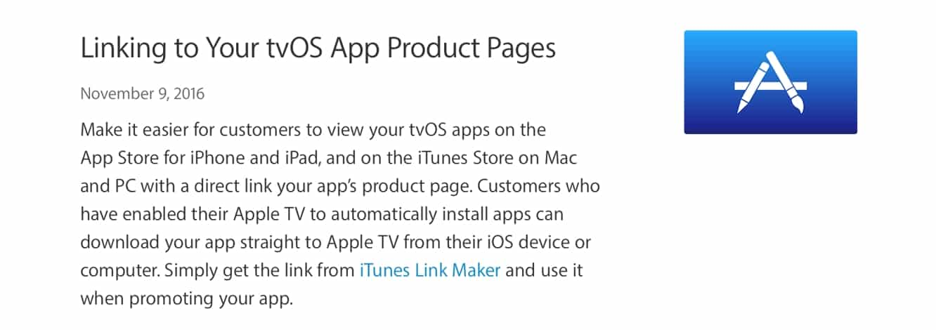 Direct web linking to tvOS apps now available