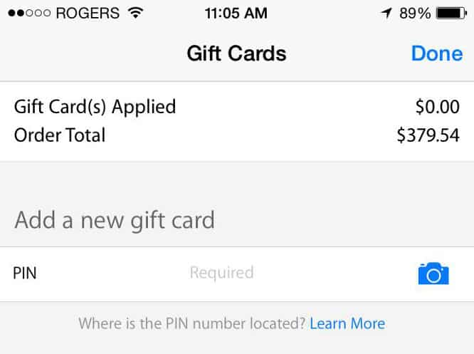 Updated Apple Store app accepts gift cards