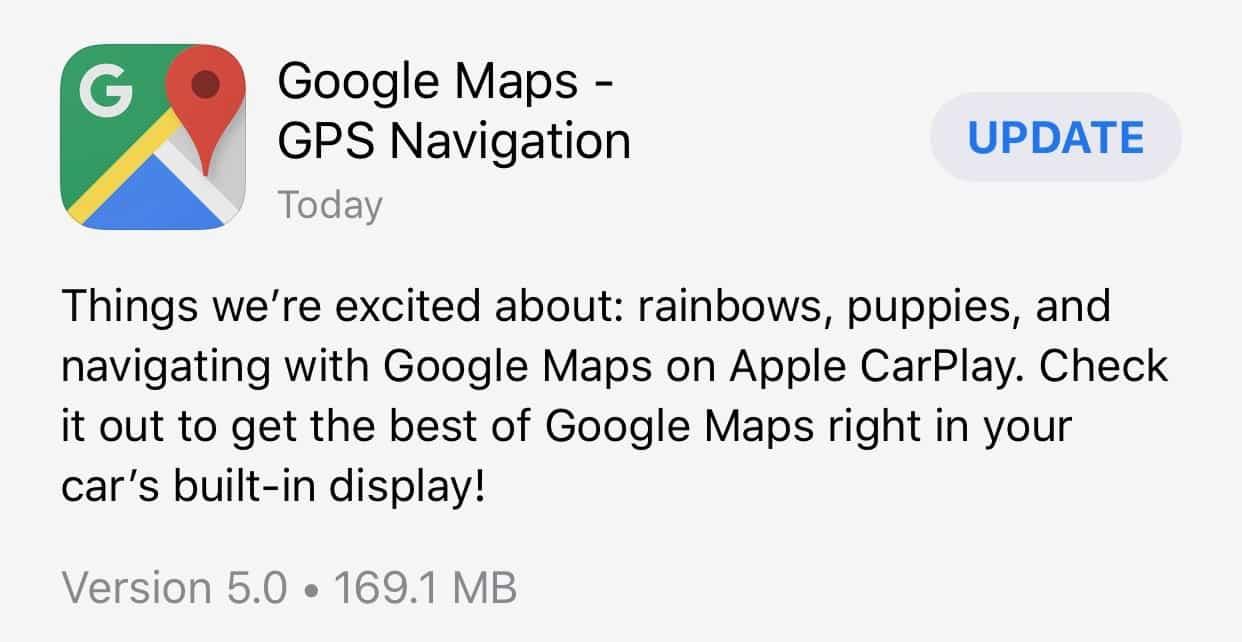 Google Maps update adds CarPlay support