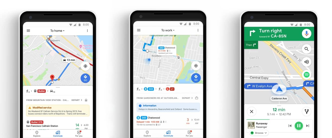 Google Maps adds new 'Commute' feature, with Apple Music and Spotify integration