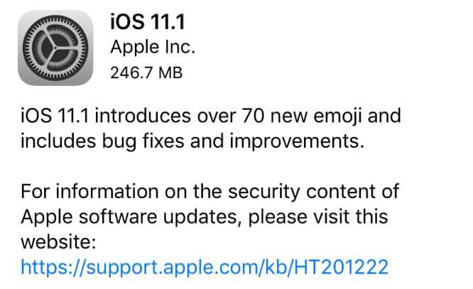 Apple releases iOS 11.1, watchOS 4.1, tvOS 11.1