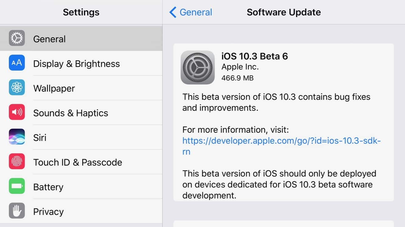 Apple releases sixth beta of iOS 10.3 to developers