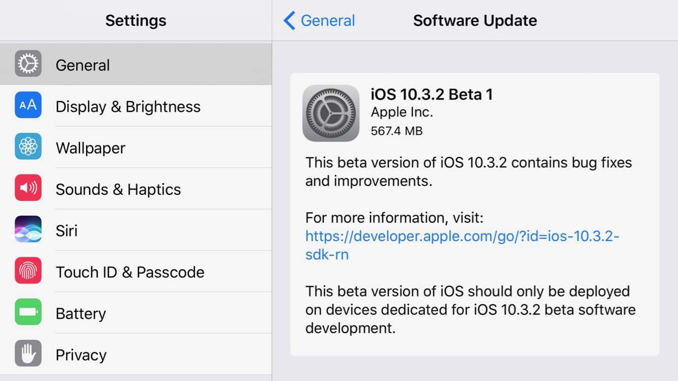 Apple releases iOS 10.3.2 beta to developers