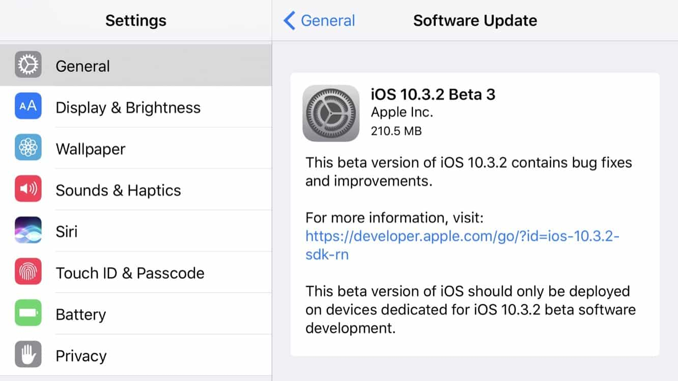 Apple releases third betas of iOS 10.3.2, watchOS 3.2.2, and tvOS 10.2.1