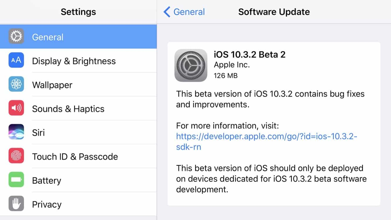 Apple releases second betas of iOS 10.3.2, watchOS 3.2.2, and tvOS 10.2.1
