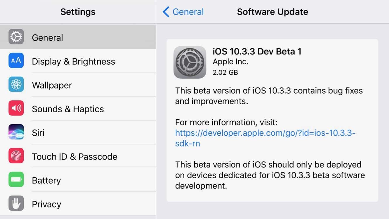 Apple releases betas for iOS 10.3.3, tvOS 10.2.2, watchOS 3.2.3