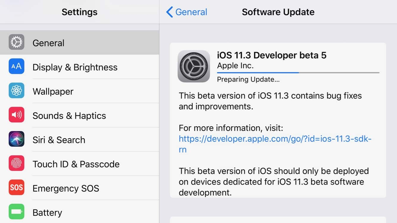 Apple releases fifth iOS 11.3, tvOS 11.3 betas to registered developers