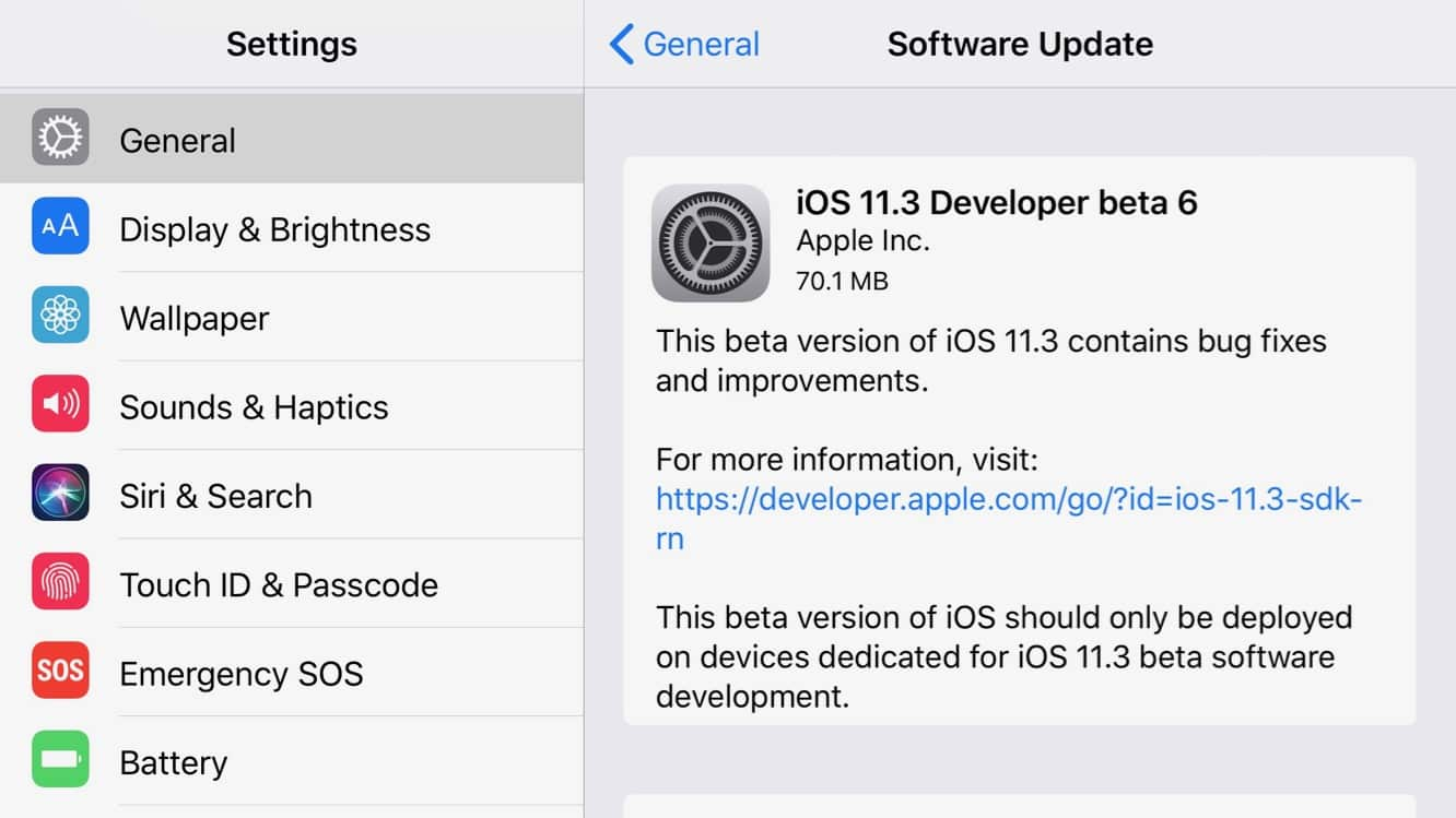 Apple seeds sixth beta of iOS 11.3 to registered developers