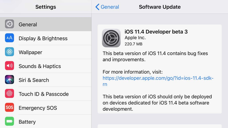 Apple releases third developer betas for iOS 11.4, tvOS 11.4, watchOS 4.3.1