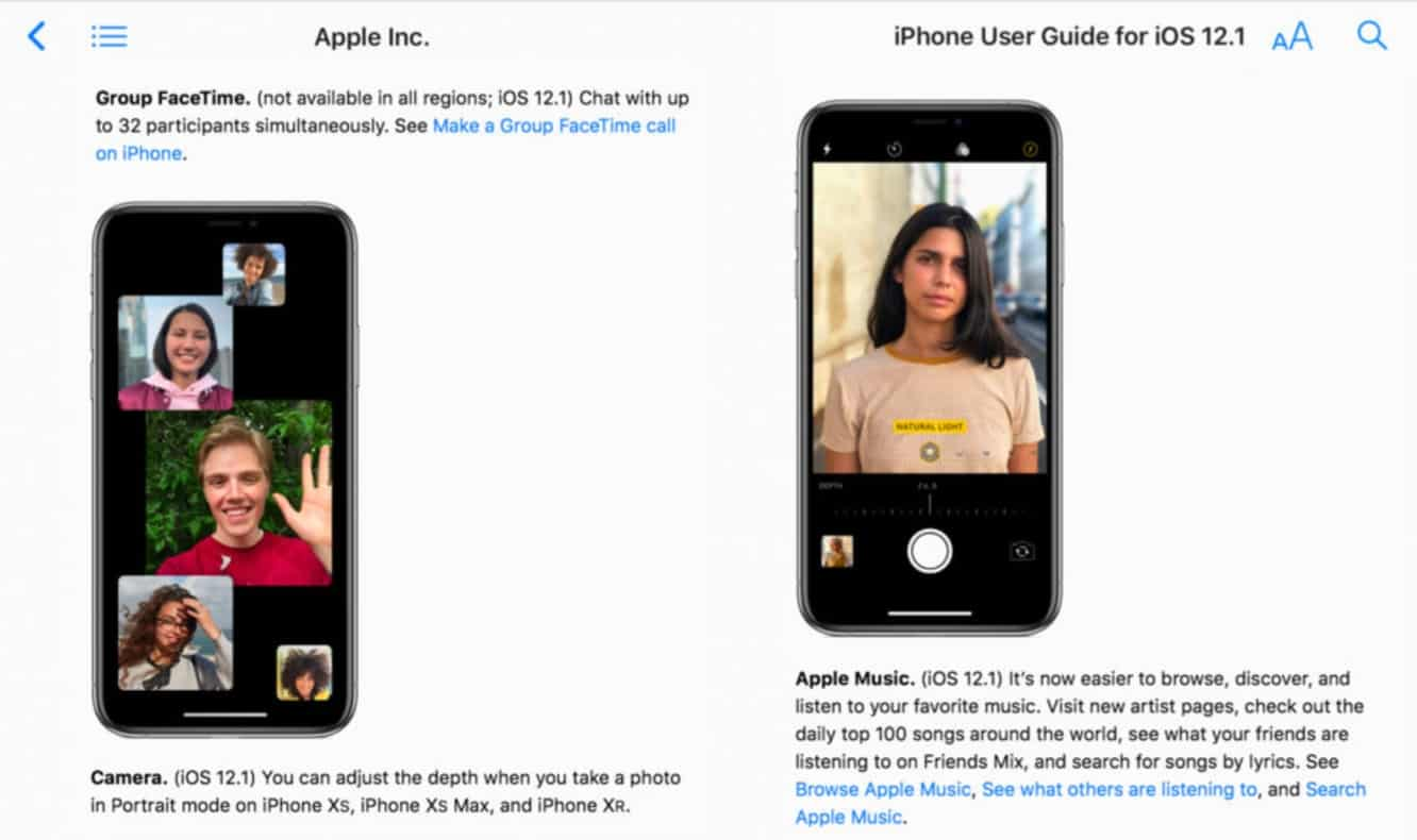 Apple confirms Group FaceTime and other iOS 12.1 features in updated iPhone user guide