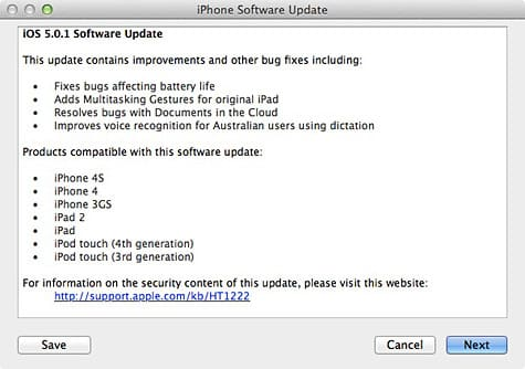 Apple releases iOS 5.0.1 for iPhone, iPad, iPod touch