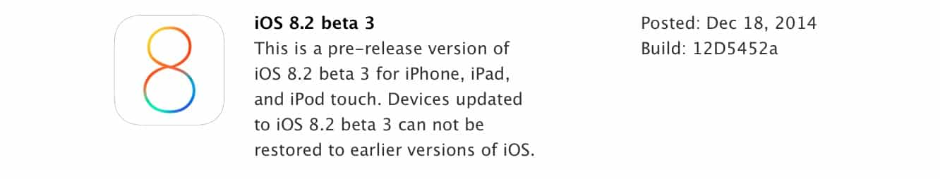Apple releases iOS 8.2 beta 3 to developers