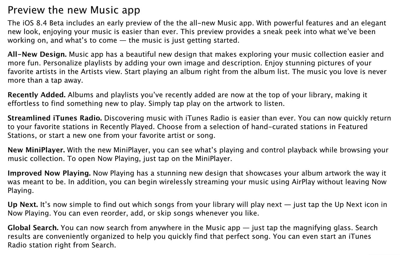 Apple releases iOS 8.4 beta to developers, with new Music app