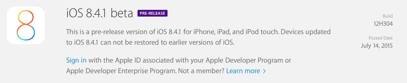 Apple releases iOS 8.4.1 beta to developers