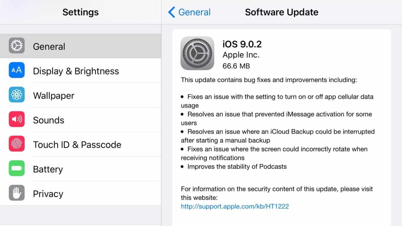 Apple releases iOS 9.0.2