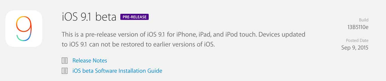 Apple releases iOS 9 GM seed, first iOS 9.1 developer beta