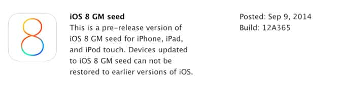 Apple releases iOS 8 GM seed to developers