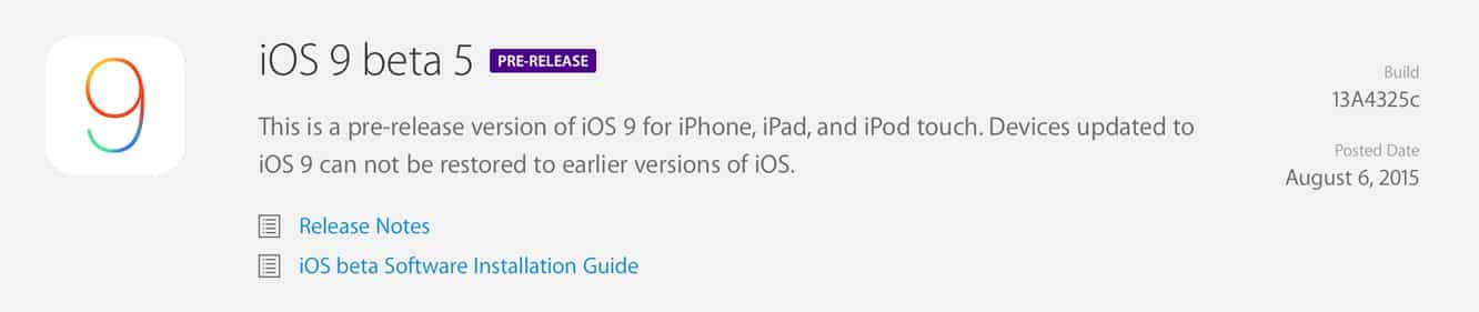 Apple releases fifth iOS 9 beta to developers